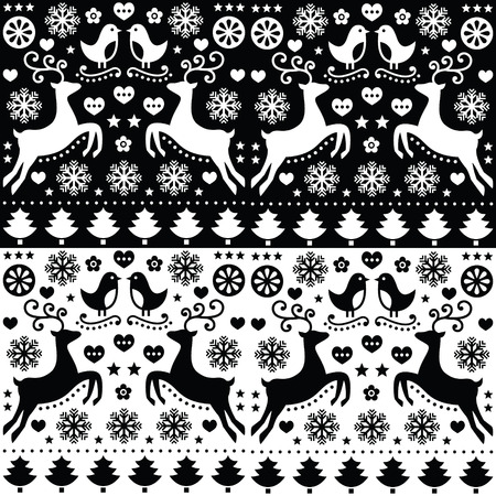 black tree: Christmas seamless monochrome pattern with reindeer - folk style Illustration