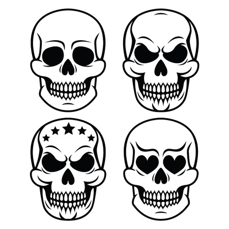 sapiens: Halloween human skull design - death, Day of the Dead Illustration