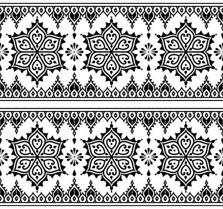 motives: Mehndi, Indian Henna tattoo seamless pattern, design elements Illustration