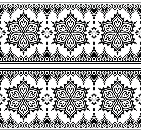 motif: Mehndi, Indian Henna tattoo seamless pattern, design elements Illustration