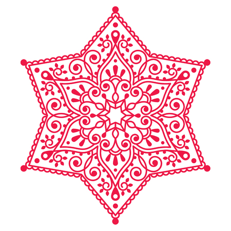 swirls vector: Christmas red snowflake lace design Illustration