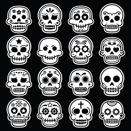 white sugar: Halloween, Mexican sugar skull, Dia de los Muertos white icons on black Illustration