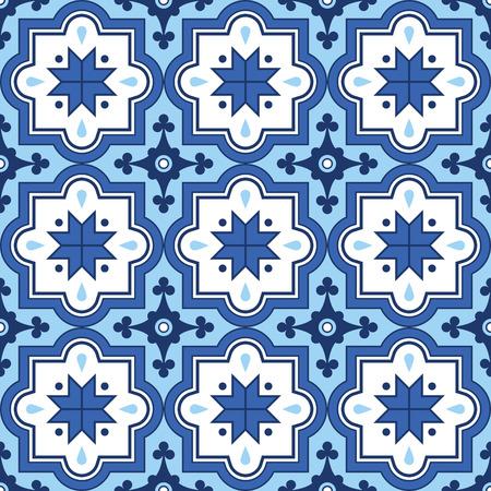 moroccan: Arabic pattern, Moroccan blue tiles design Illustration