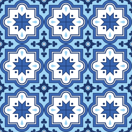 Arabic pattern, Moroccan blue tiles design Illustration