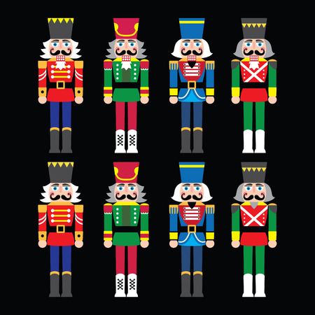 cartoon human: Christmas nutcracker - soldier figurine icons set on black