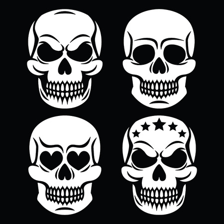 homo: Halloween human skull white design - death, Day of the Dead Illustration