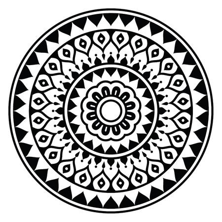 Mandala, Indian inspired round geometric pattern