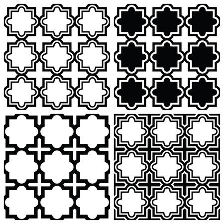 arabesco: Árabe conjunto sin patrón - diseño repetitivo Islámica Vectores