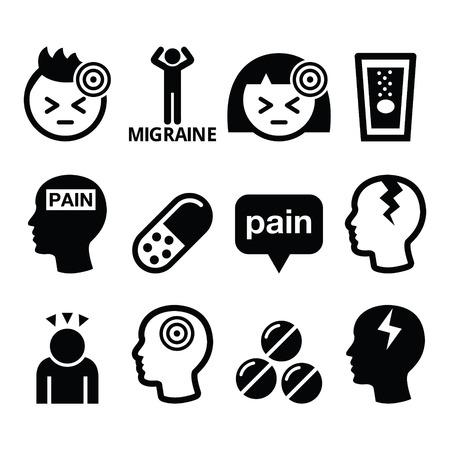 Dolor de cabeza, migraña - vector médica iconos conjunto Vectores
