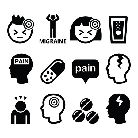 Headache, migraine - medical vector icons set Çizim