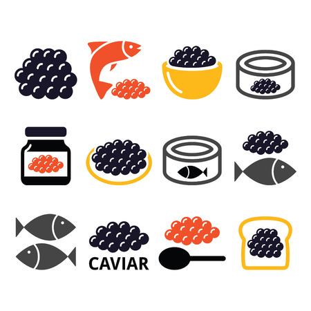 expensive food: Caviar, roe, fish eggs icons set Illustration