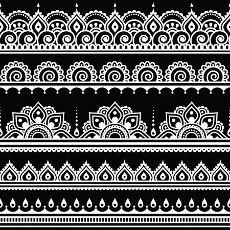 Mehndi, Indian Henna tattoo seamless white pattern on black background Vettoriali
