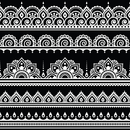 Mehndi, Indian Henna tattoo seamless white pattern on black background Vectores