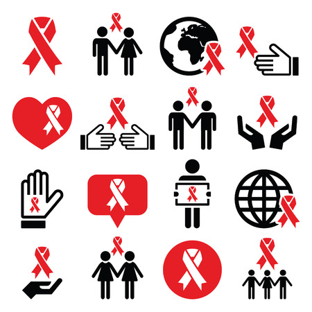 cure prevention: World AIDS Day icons set - red ribbon symbol