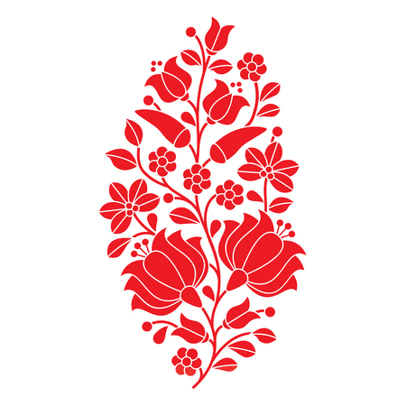 Hungarian red folk pattern - Kalocsai embroidery with flowers and paprika  イラスト・ベクター素材