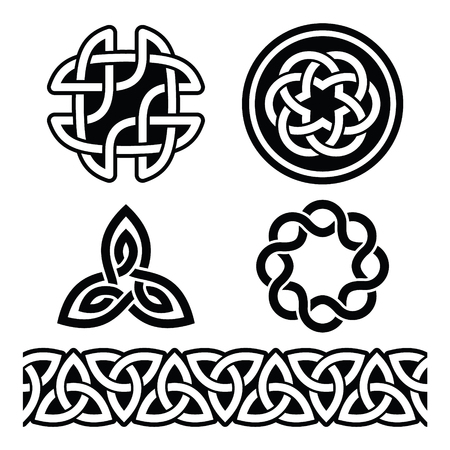 17 march: Celtic Irish patterns and knots - vector, St Patricks Day