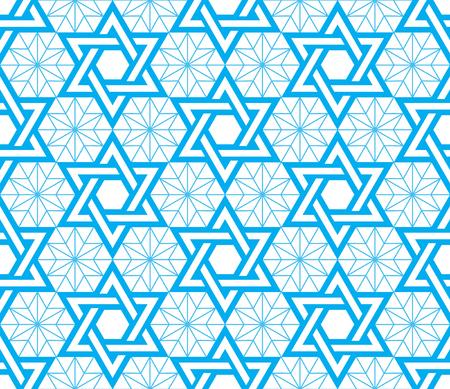 Jewish, Star of David blue seamless pattern