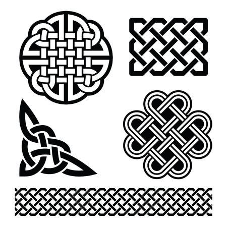 Celtic knots, braids and patterns - St Patrick's Day in Ireland Vettoriali