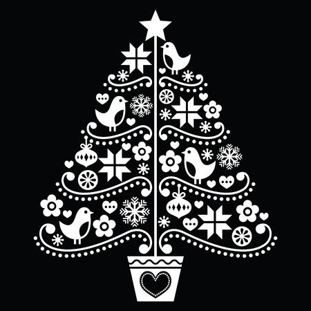 tree design: Christmas tree design - folk style on black Illustration