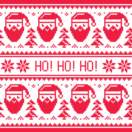 Christmas seamless red pattern with Santa and snowflakes Vectores