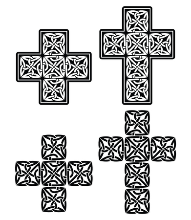 celtic cross: Celtic cross - set of traditional designs in black Illustration