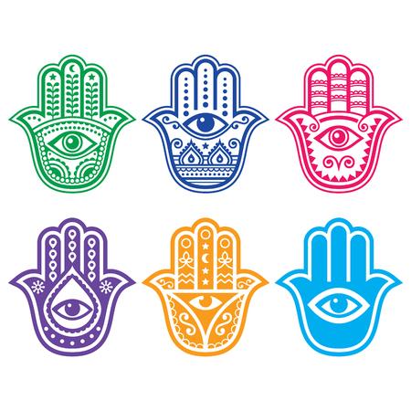 berber: Hamsa hand, Hand of Fatima - amulet, symbol of protection from devil eye Illustration