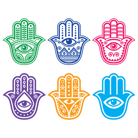 Hamsa mano, mano de Fátima - amuleto, símbolo de la protección del diablo ojo Ilustración de vector