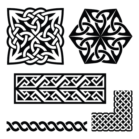 braids: Celtic Irish and Scottish patterns - knots, braids, key patterns Illustration