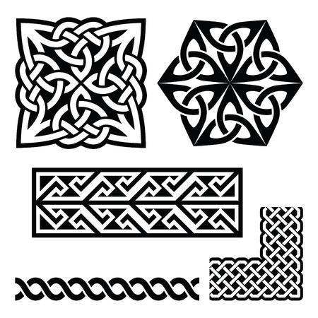ethnographic: Celtic Irish and Scottish patterns - knots, braids, key patterns Illustration