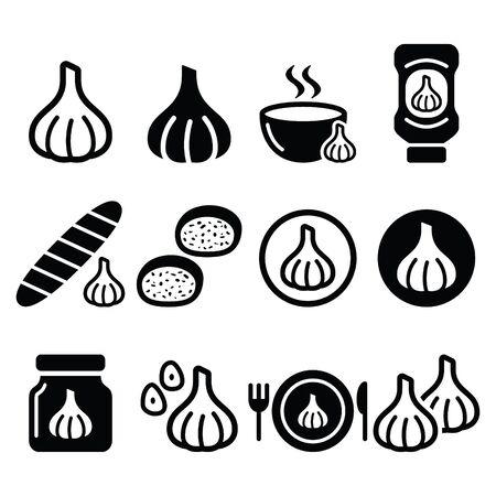 garlic bread: Garlic, food icons set - garlic sauce, soup and bread vector designs