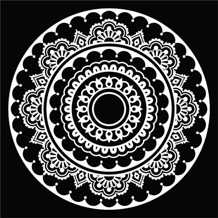 motives: Mehndi, Indian Henna floral tattoo white round pattern on black Illustration