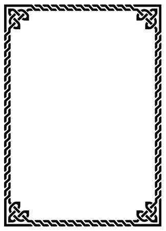 Irish, Celtic zwart vierkant patroon op wit wordt geïsoleerd Stockfoto - 49359519