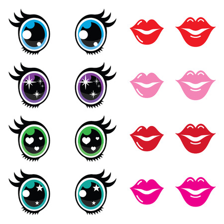 beautiful eyes: Kawaii cute eyes and lips icons set, Kawaii character Illustration