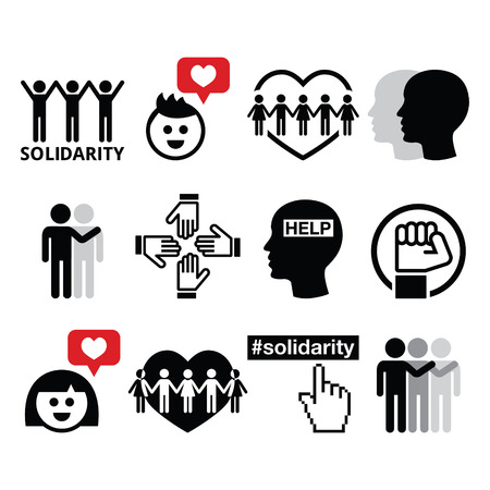inequality: Human Solidarity icons, people helping each other design