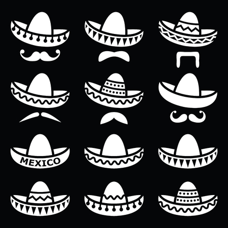 sombrero: Mexican Sombrero hat with moustache or mustache white icons on black