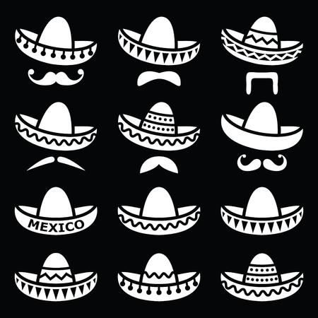 sombrero de charro: Sombrero mexicano del sombrero con bigote o bigote iconos blancos sobre negro Vectores