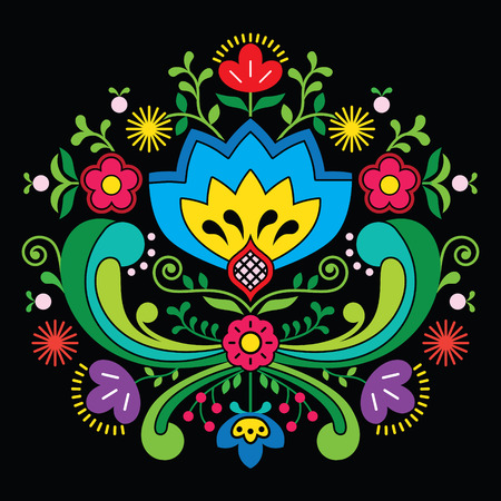 national: Arte popular noruego patrón Bunad - bordado estilo Rosemaling en negro Vectores