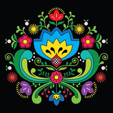 Norwegian folk art Bunad pattern - Rosemaling style embroidery on black
