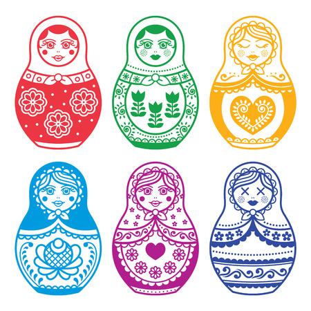russian pattern: Matryoshka, Russian doll design Illustration