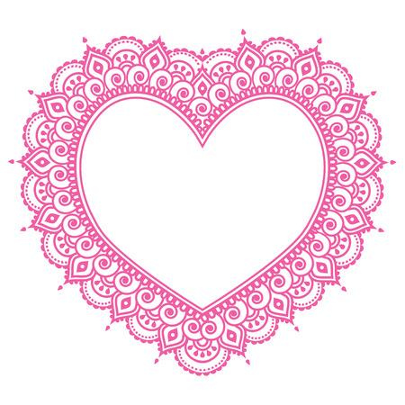Heart Mehndi pink design, Indian Henna tattoo pattern - love concept