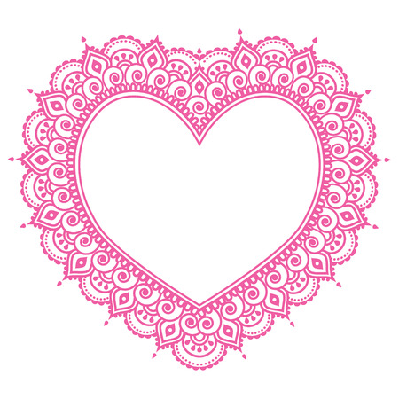 hearts: Heart Mehndi pink design, Indian Henna tattoo pattern - love concept