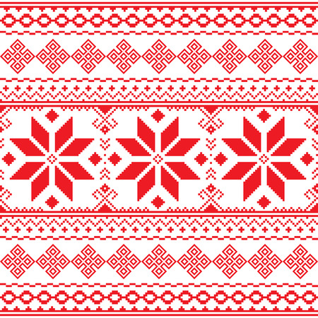 Traditional folk red embroidery pattern from Ukraine or Belarus - Vyshyvanka Illustration