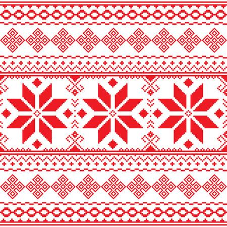 ukraine folk: Traditional folk red embroidery pattern from Ukraine or Belarus - Vyshyvanka Illustration