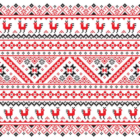 bordado: , Rojo bielorrusa de Ucrania y patrón transparente bordado negro - Vyshyvanka Vectores