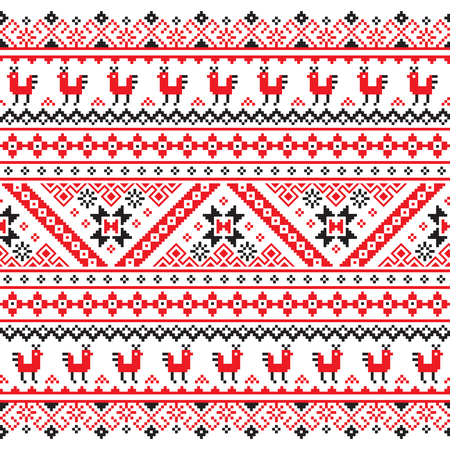 red cross red bird: Ukrainian, Belarusian red and black embroidery seamless pattern - Vyshyvanka Illustration