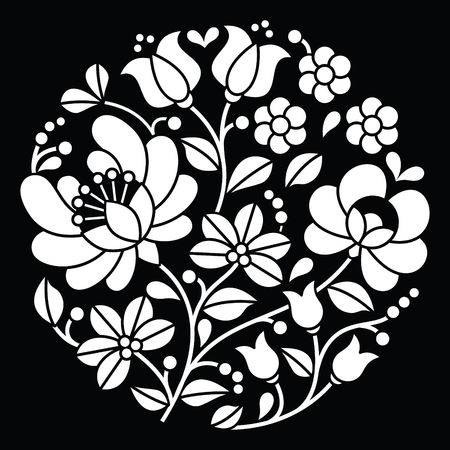 folk art: Kalocsai white embroidery - Hungarian round floral folk art pattern on black