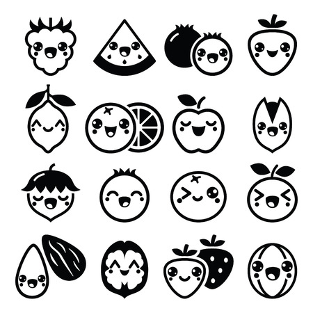 pistachio: Kawaii fruit and nuts cute characters design