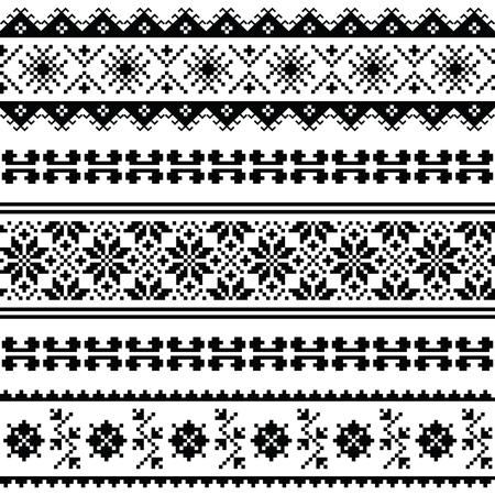 , Modelo ucraniano bielorrusa arte popular bordado o impresión en negro Ilustración de vector