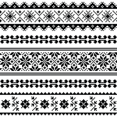 ukraine folk: Ukrainian, Belarusian folk art embroidery pattern or print in black