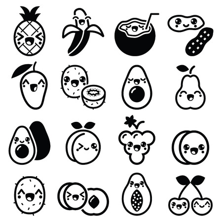 Kawaii fruit and nuts cute characters icons set